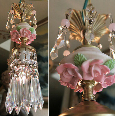 mini chandelier lamp Brass Swag crystal vintage Porcelain PINK Rose lighting 1o3