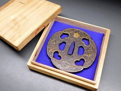 HEIANJO School Arabesque TSUBA 17-18thC Japanese Edo Antique for Koshirae f561