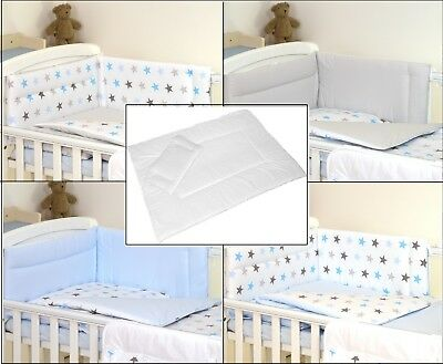 BLUE GREY STARS REVERSIBLE BABY BEDDING SET COT or COT BED 3,4,5 PC+MORE DESIGNS