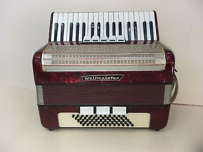 Weltmeister 60 Bass  Accordion Akkordeon Fisarmonica Burgundy +Case