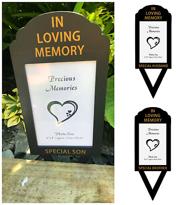 In Loving Memory Plastic Spike Photo Frame Memorial, Graveside Crematorium