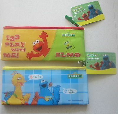 Two Sesame Street pencil cases Big Bird, Cookie Monster & Elmo