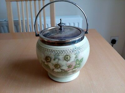 George Jones Crescent China Art Deco Biscuit Barrel with EPNS Lid and Handle