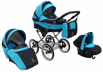 Baby Pram Stroller Buggy Pushchair Classic Retro 3in1 Travel system car seat