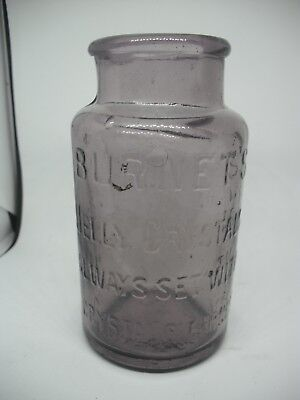 Old Antique Amethyst Jar - Burnetts Jelly Crystals - Good Cond.