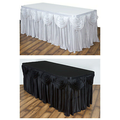 Satin Double Drape Table Skirt Table Covers For Rectangle Or Round Tables