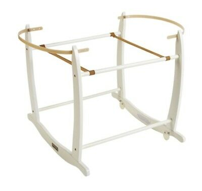 New Clair De Lune White Moses Basket Wooden Rocking Stand