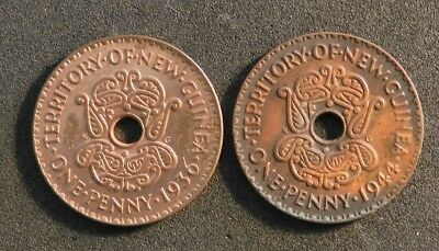 1936 and 1944 PAPUA NEW GUINEA PENNIES IN VERY GOOD CONDITION