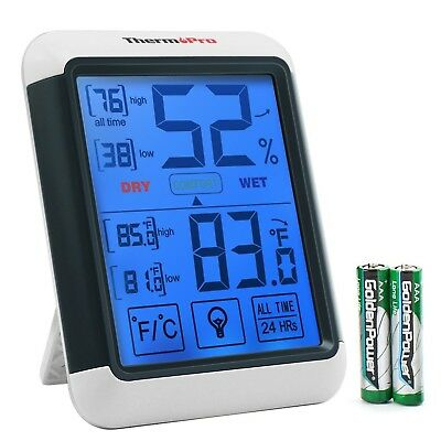 ThermoPro TP55 Digital Hygrometer, Humidity Gauge with Jumbo Touchscreen and