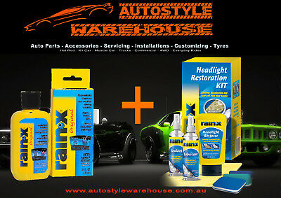 Rain-X Headlight Restoration Kit 7 Piece + Rain-X Original Water Repellant 103ml