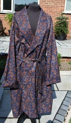 "Vintage Blue Paisley Robe/Gown Menswear Mens Nightwear C&A 42"" Chest Preloved"