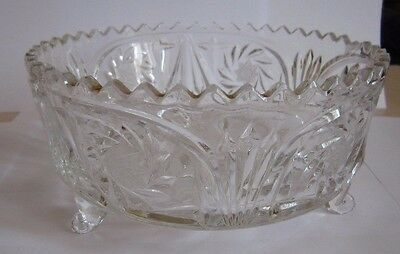 Vintage Emerald White Cut To Clear Crystal Glass # Decorative Bowl #home #decor