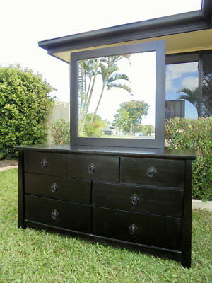 Wooden 7 Drawer Dresser/Chest of Drawers with Mirror