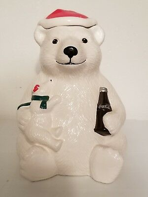 Coca-Cola Polar Bear Holding Baby Cookie Jar, coke