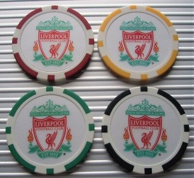 LIVERPOOL FC - POKER CASINO CHIP GOLF BALL MARKERS - 11g 39mm