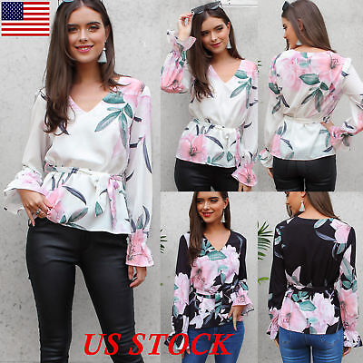 Womens Floral V-Neck Casual Tops Ladies Loose Long Sleeve Bandage Blouse T Shirt
