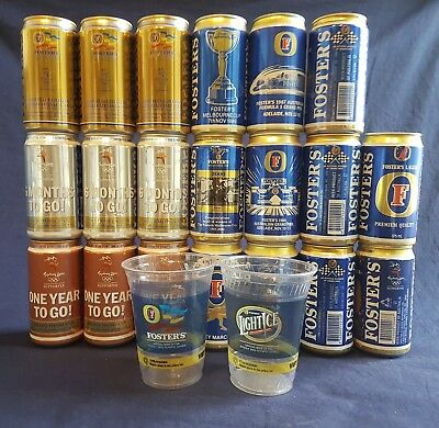 20 x Collectable Foster's Beer Cans - Commemorative Cans (bottom-opened)