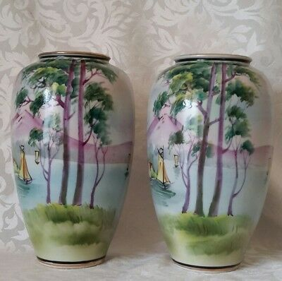 2x Antique IE & C Co IE&C Co Japan Vase c1885-1925 Handpainted 19.3cm . BERWICK