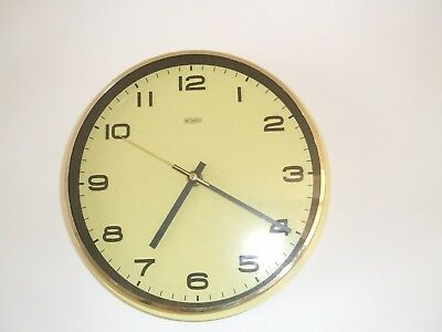 Fab' Original Vintage Retro 1970's Yellow Metamec Battery Op' Wall Clock