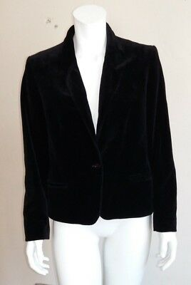 Black Velvet Original Vintage St Micheal M&S Blazer Jacket UK Size 16 (Fits 14!)