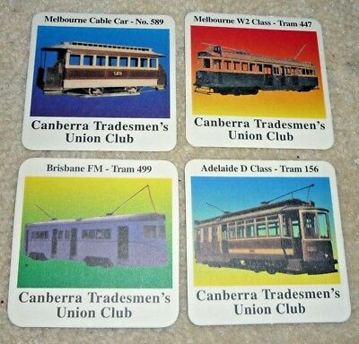 Collectable Beer coasters -  Set of 4 Canberra Tradesman's Union Club coasters