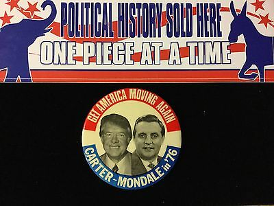 Carter-Mondale In 76 Get America Moving Again 3 1/2 Inch Button