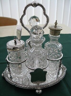 Antique Cruet Set on Stand Silver Plated Gallimore Sheffield 4 Pieces