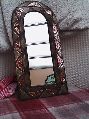 Small Arts And Crafts archedMirror, copper and brass