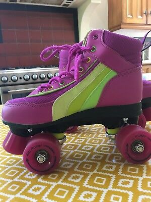 Size 4 Pink purple and green rollerskates SFR RIO ROLLER