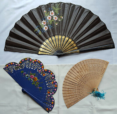 Vintage Lot Of 3 Fabric & Wood Hand Fans - 2 Hand Painted, 1 Spanish