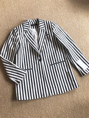 Zara Navy & White Striped Pure Linen Blazer Jacket Size L UK 14 Bnwt