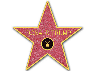 4x4 inch STAR SHAPED Donald Trump Walk Of Fame Sticker - pro gop anti hollywood