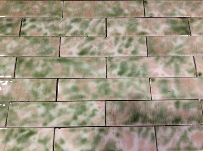 COMPLETE SET VINTAGE VICTORIAN ANTIQUE FIREPLACE TILE MANTLE Tiles Rose Green