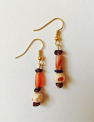 Egyptian Colourful Glass Beads Earrings Jewellery C. 500 B.C. Restrung To Wear