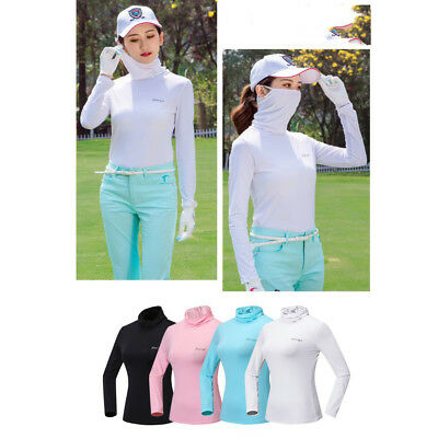 Women's Long Sleeve Golf T-Shirt Tee Shirts Top with Anti-UV Face Mask White