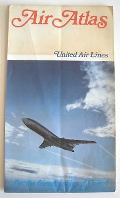Vintage 1958 United Airlines Air Atlas Route Map