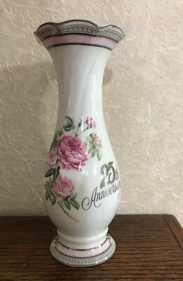 Norcrest by Chatillon  Fine Porcelaine  China 25th Anniversary Bud Vase 7.5""