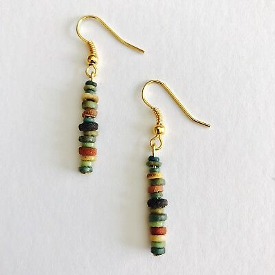 Egyptian Colourful Faience Beads Earrings Jewellery C.1300 B.C. Restrung To Wear