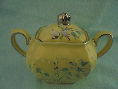 Sadler Cube Sucrier Lidded Sugar Bowl Bluebell Harebell Excellent Conditiion