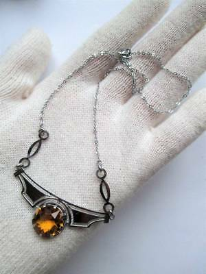 Art Deco Beautiful original silver citrine paste delicate necklace chrome 1930s