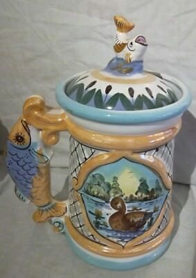 Hand Made Russian Ghzel Porcelain Tankard with Fish Lid (As Found)