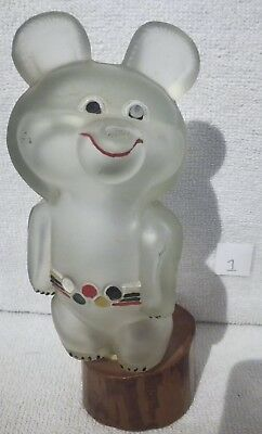 Glass Bottle Misha Bear with Multicoloured Belt (1) - Moscow 1980's Olympics