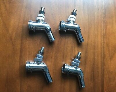 Set Of 4 Perlick 525SS Stainless Steel Draft Beer Faucets