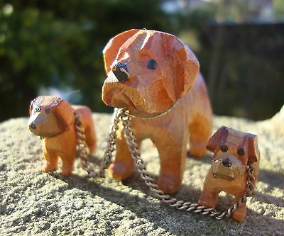 Vintage 1950's Black Forest Style Carved Wood Dog & Puppies With Chain - Treen