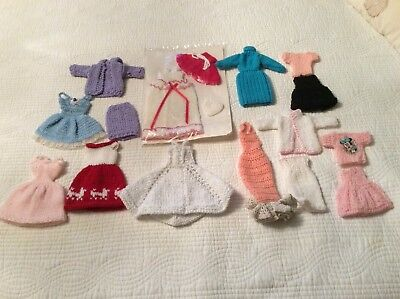 Lot Barbie Size Homemade Knitted Crocheted Clothes Dresses