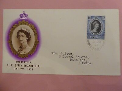 Gambia Corination of EII First Day Cover dated 2nd June 1953 - interesting box m