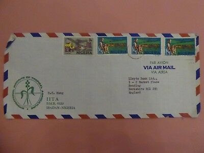 Nigeria, Long Commercial Arimail Cover with mixed Stamps addressed to UK