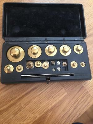 BLT Baird & Tatlock (London) Ltd Brass Weights Tweezer Set Bakelite Box