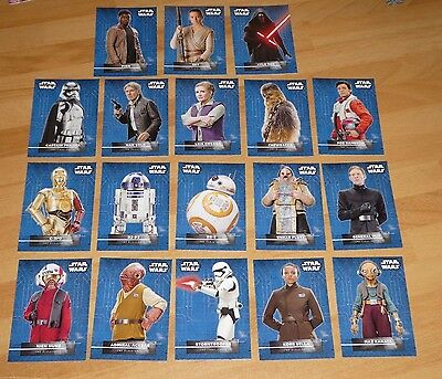 Star Wars FORCE AWAKENS SERIES 2 Character Sticker / Card Set of 18 topps 2016