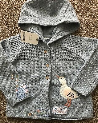 Next Blue Duck & Mouse Applique Hooded Cardigan Age 12 ~ 18 Mths Bnwt
